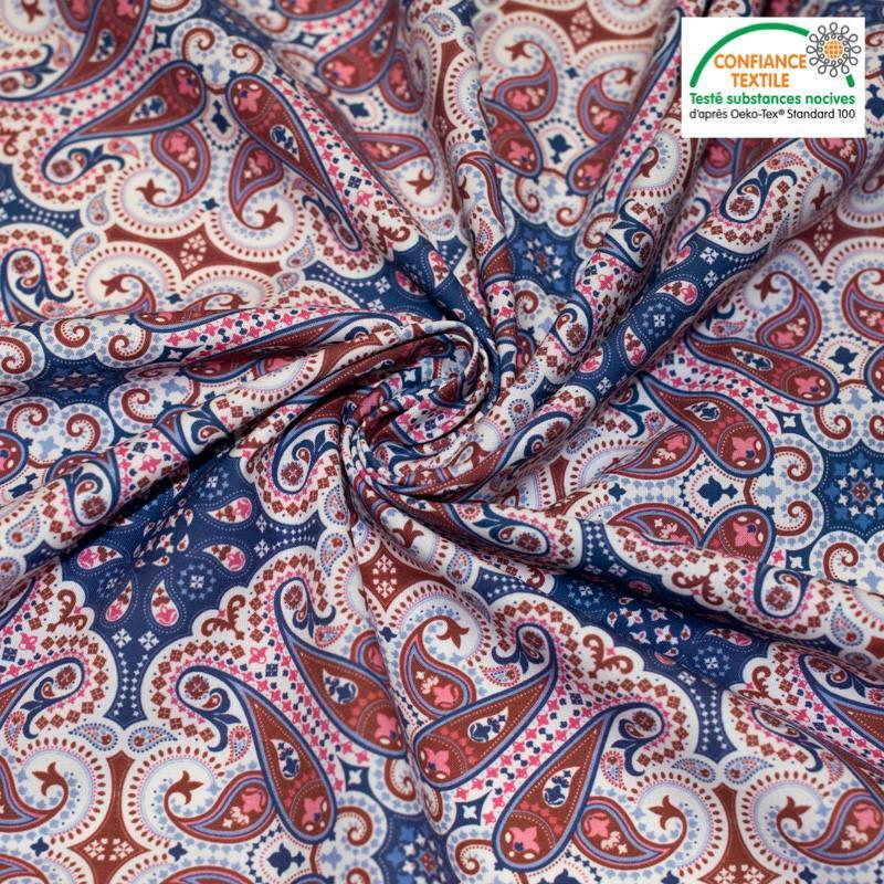 Coton bleu motif cachemire rouge tomette