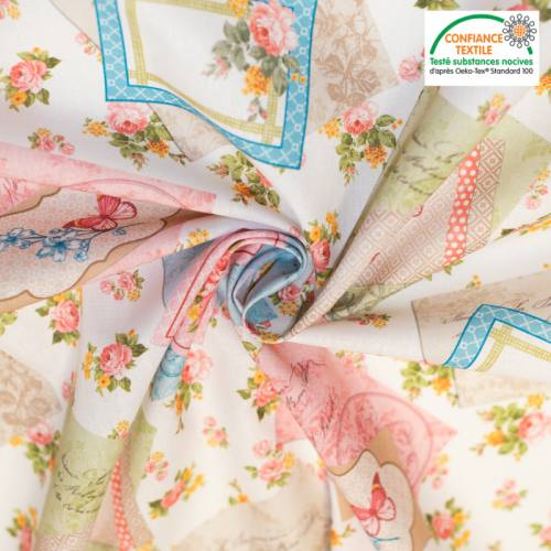 Coton écru motif rose et papillon