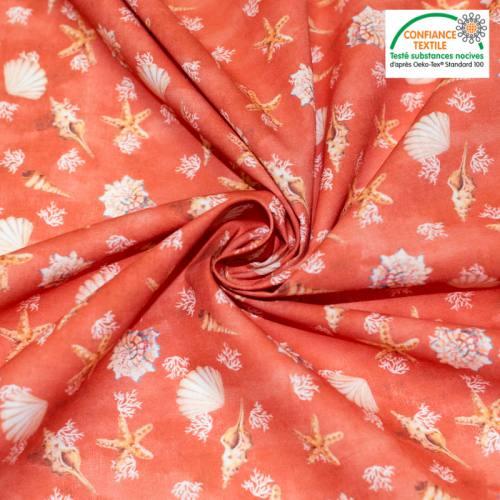 Coton rouge capucine motif coquillages