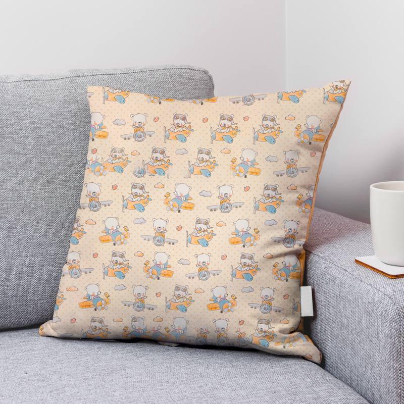 Coton crème motif ourson aviateur