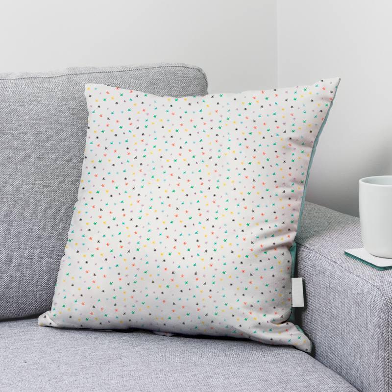 Coton écru motif petites étoiles multicolores
