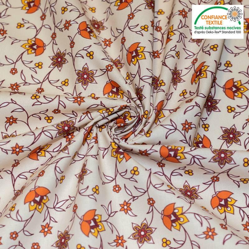 Coton bio beige motif fleurs orange bastide