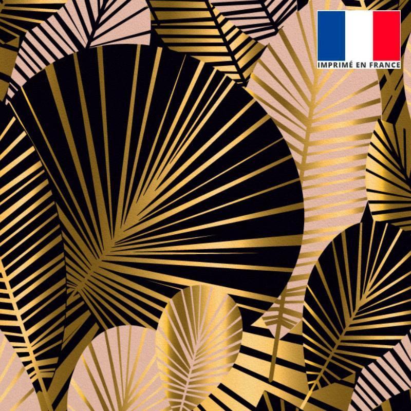 Velours ras noir motif feuilles art déco roses et or