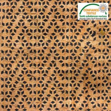 Tissu noir et liège motif losange