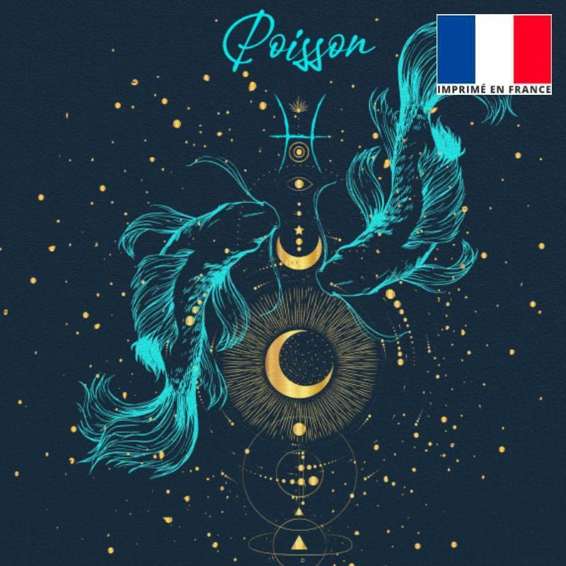 Lot 2 coupons velours ras bleu nuit signe astro Poisson