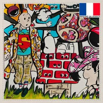 Coupon toile canvas personnages pop - Création Anne-Sophie Dozoul
