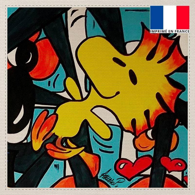 Coupon toile canvas coq street pop - Création Anne-Sophie Dozoul
