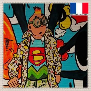 Coupon toile canvas globe-trotter street art - Création Anne-Sophie Dozoul