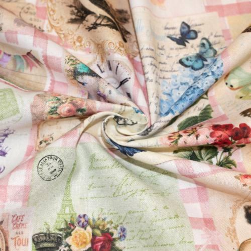 Toile coton impression numérique vichy rose motif objet de déco