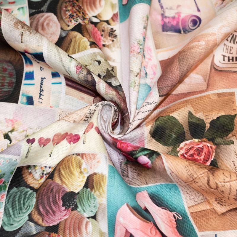 Toile coton impression numérique mélange de photos roses