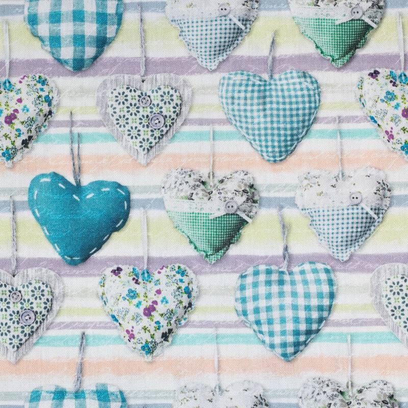 Toile coton impression numérique motif coeur bleu en tissu