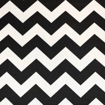 Toile polycoton écrue à motif chevron noir et blanc