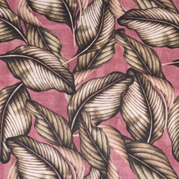Toile coton lie de vin imprimée feuilles