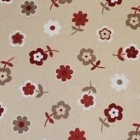 Toile polycoton beige motif fleur rouge et marron