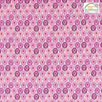 coupon - Coupon 48cm - Coton rose imprimé plume de paon