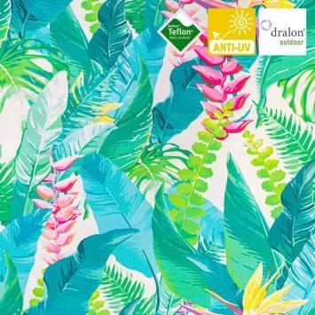 Toile transat blanche imprimée feuille tropicale et oiseau du paradis