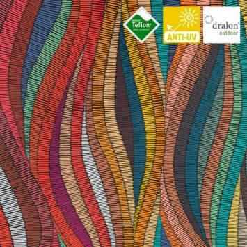 Toile transat imprimée bande multicolore