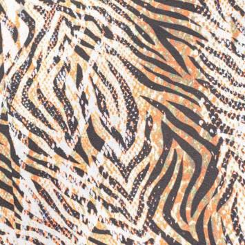 Toile polycoton grande largeur imprimée zébrée orange et verte