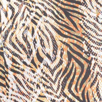 Toile polycoton grande largeur imprimée zébrée orange et verte Oeko-tex