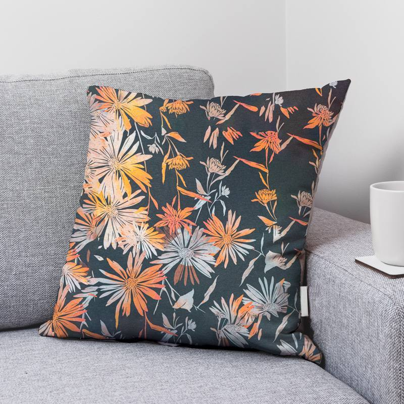 Toile polycoton grande largeur anthracite imprimée fleur orange Oeko-tex