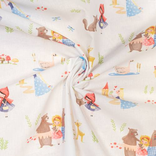 Coton blanc motif princesses et nature