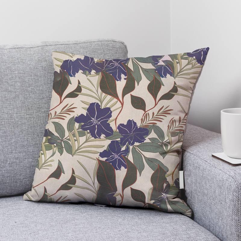Toile coton aspect lin imprimée fleur Anaïs indigo et feuilles