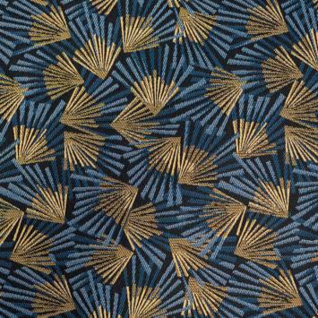 Jacquard bleu marine motif éventail bleu et or