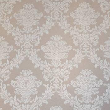 Tissu jacquard enduit beige motif fleurs baroques écrues