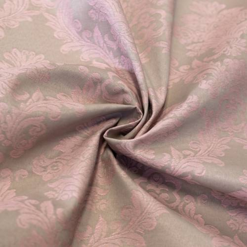 Tissu jacquard enduit beige motif fleurs baroques roses