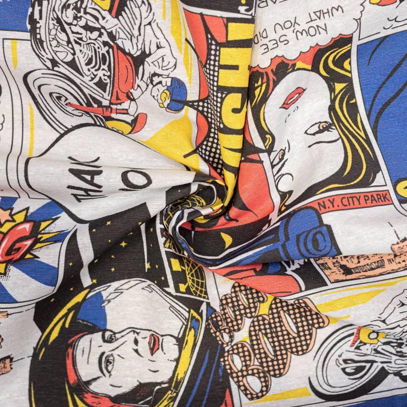 Tissu polycoton imprimée comics rouge et jaune