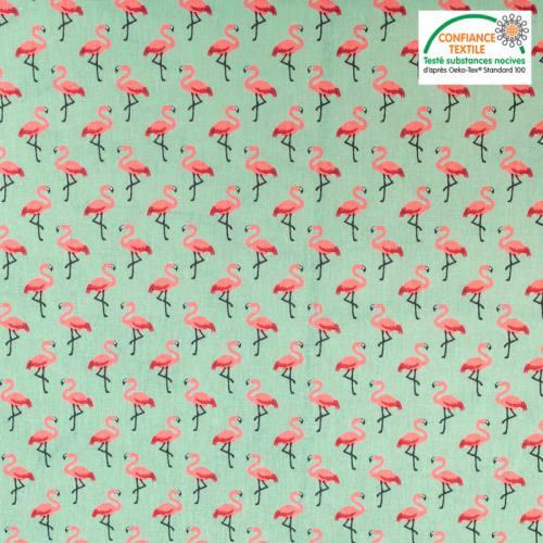 Coton vert amande imprimé flamant rose