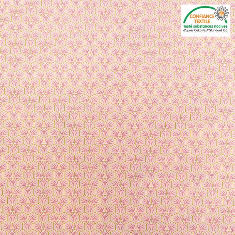 Coton rose clair motif trèfle riad