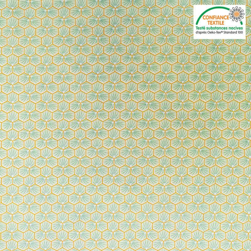 Coton vert anis motif trèfle riad