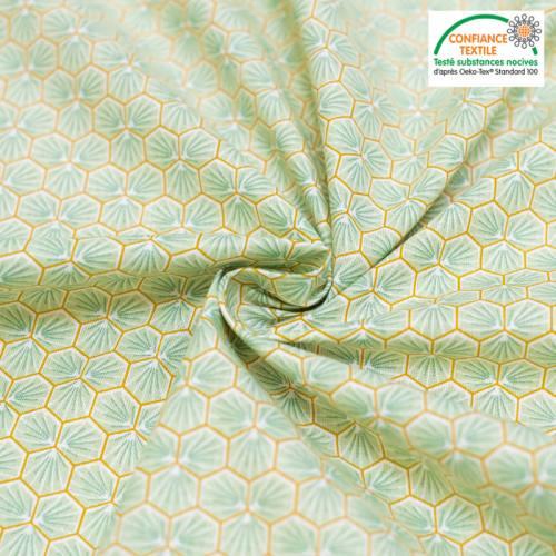Coton vert d'eau motif trèfle riad
