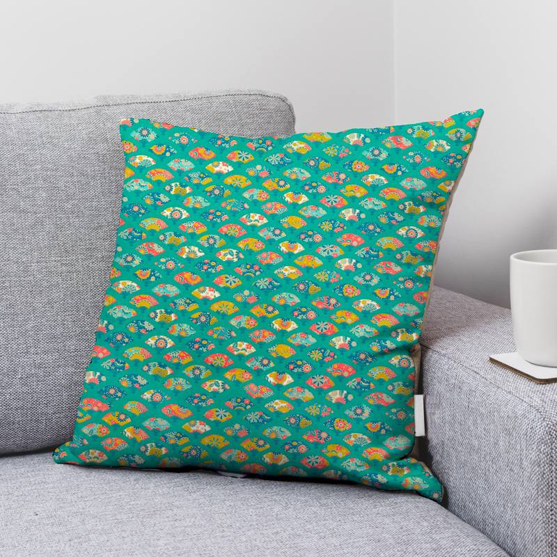 Coton bleu lagon motif éventail japonais