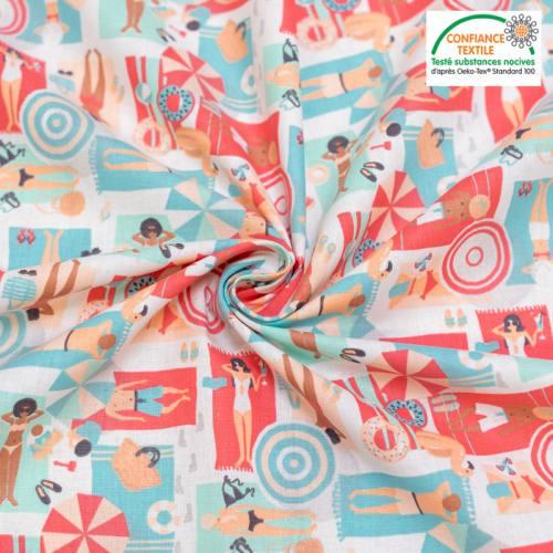 Coton blanc motif plage rose et vert d'eau