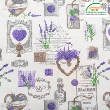 Coton blanc motif coeur lavande violet