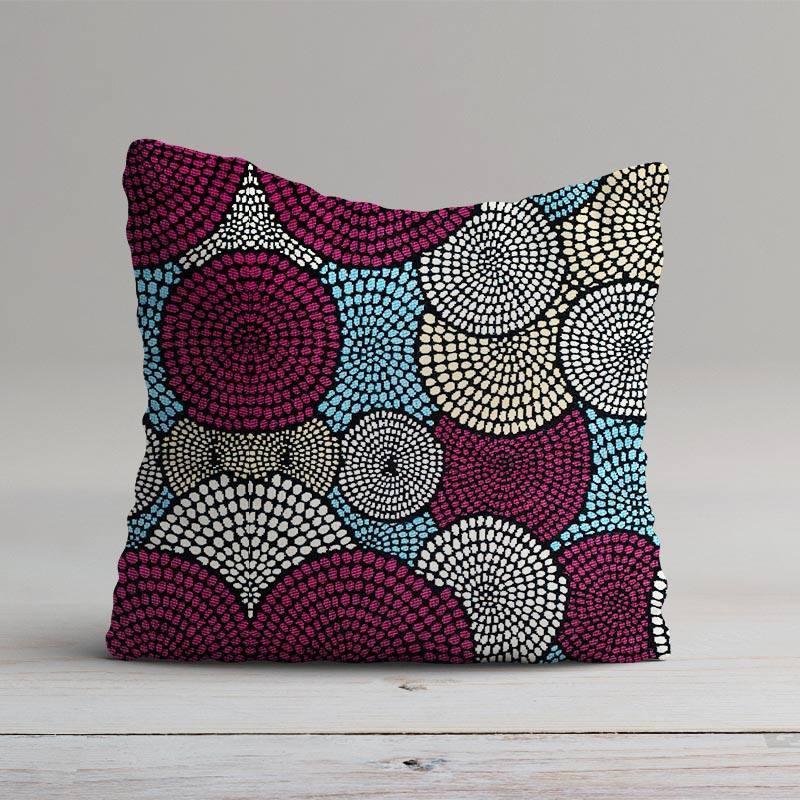 coupon - Coupon 50x68cm - Jacquard motif cercle bleu, violet et doré