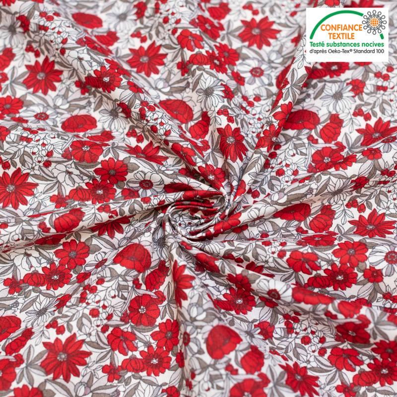 Coton blanche motif fleurs rouges et grises apolline