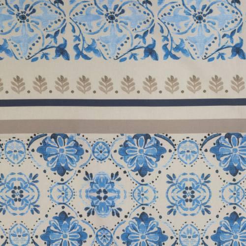 Nappe grège parfumée à la lavande motif fleuri bleu 150X150