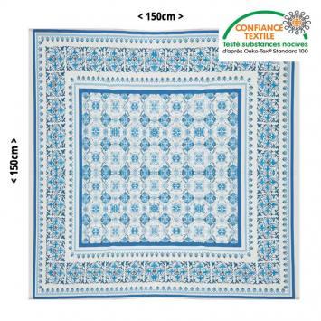 Nappe blanche parfumée à la lavande motif fleuri bleu 150X150