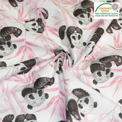 Coton écru motif panda et feuilles roses