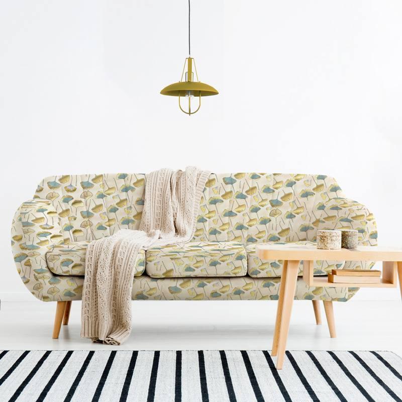 Toile coton chinée naturelle imprimée feuilles ginkgo dorées et vertes