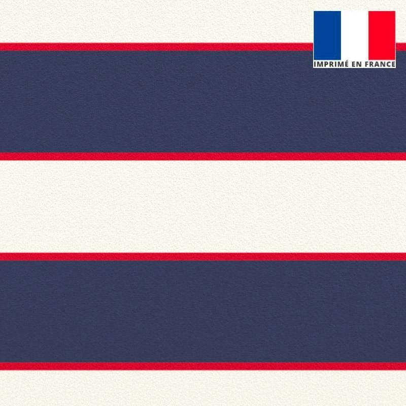 Velours ras écrue imprimé rayure bleue et rouge