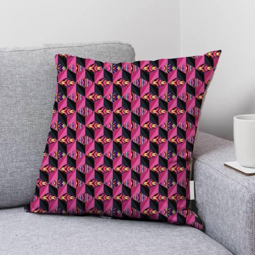 Velours ras multicolore motif effet 3D rose et noir