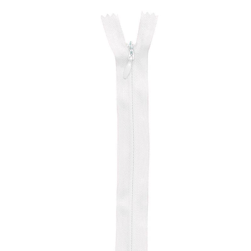 Fermeture blanche à glissière invisible 22 cm col 501