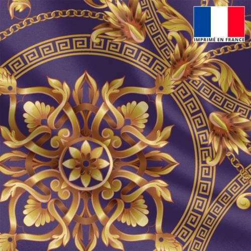 Satin violet imprimé foulard doré