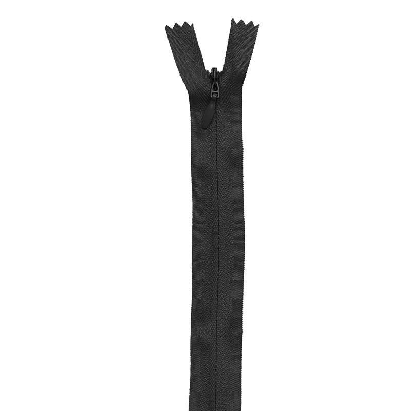 Fermeture noire à glissière invisible 40 cm col 580