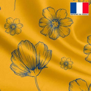 Satin or jaune motif fleurs bleues
