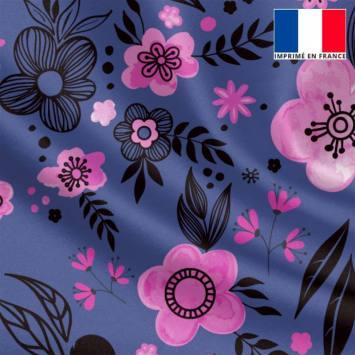Satin bleu iris motif fleurs roses